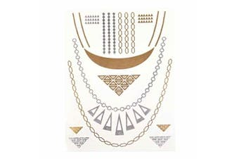 (TA011) - Metalic Gold / Silver Temporary Tattoos, Shimmer Tattoo, Triangle and chain
