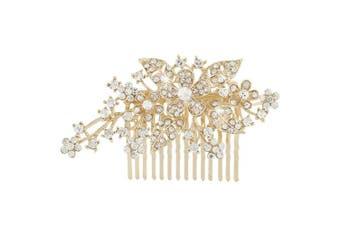 (Gold-Tone) - EVER FAITH® Austrian Crystal Bridal Party Hair Comb Clip Triple Flower Leaf