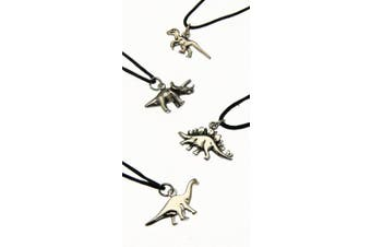 ONE Silver Coloured Metal Dinosaur Pendant On Adjustable Black Cord - YOU WILL RECEIVE ONE PENDANT ONLY - AT RANDOM
