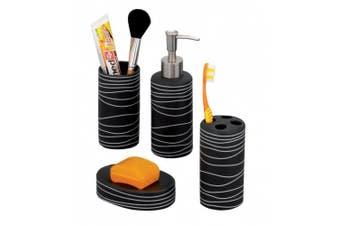 Zeller 18252 4-Piece Bathroom Accessories Set Ceramic Black