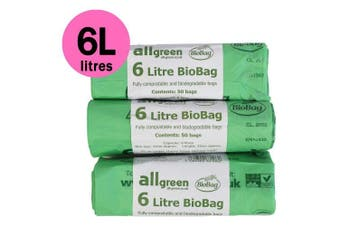 6 Litre x 150 bags All-Green Biobag Compostable 6L Kitchen Caddy Liners - Food Waste Bin Liners - EN 13432 - Compost Bags