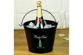 Party Time Wine & Champagne Bucket - Black Powder-coated Steel