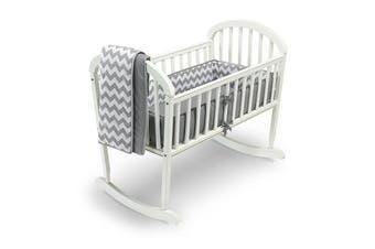(Grey) - Baby Doll Bedding Chevron Cradle Bedding Set, Grey