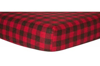Trend Lab Red & Brown Buffalo Cheque Flannel Crib Sheet