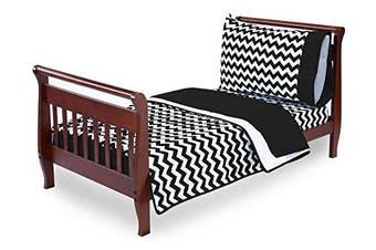 (Black) - Baby Doll Bedding Chevron Toddler Bedding, Black