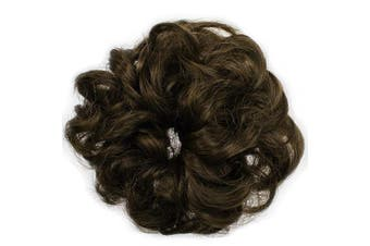 (8#-Light Chestnut Brown) - Onedor Ladies Synthetic Wavy Curly or Messy Dish Hair Bun Extension Hairpiece Scrunchie Chignon Tray Ponytail (8#-medium Ash Brown)