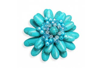 Water Lily Turquoise and Pearl Floral Pin or Brooch