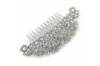 Statement Bridal/ Wedding/ Prom/ Party Rhodium Plated Clear Crystal Side Hair Comb - 110mm Across