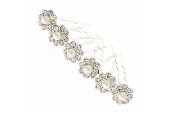 Pearl and Crystal Daisy Bridal Hair Pins x 6