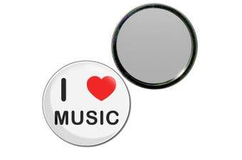 (55mm) - I Love Music - 55mm Round Compact Mirror