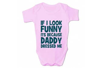 (0 - 3 Months, Pink) - Bang Tidy Clothing Babies If I Look Funny It's Because... Baby Grow