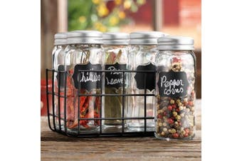 Home Essentials Country Chic Spice Jar Rack w/Chalkboard, Set of 6