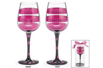 Hot Pink Black Polka and Stripe Fill Line Wine Glass Rough Day Don't Ask 350ml Gift
