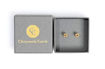 (Yellow Gold) - Chrysmela Catch Yellow Gold most secure high tech earring lock earring back replacement for all types of earring posts auto adjustable auto locking hypoallergenic patented in 5 countries