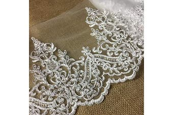 (Ivory) - Bridal Veil Lace Trim Gorgeous Elegant Alencon Embroidered Corded Sequined Mesh, 20cm Wide, 1 Yard, Choose Colour. For Veil Bridal Wedding Decoration Dresses, Ivory