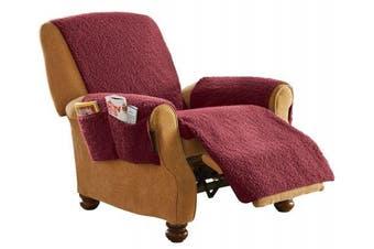 (Burgundy) - Protective Fleece Recliner Chair Cover Burgundy