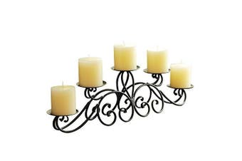 (5 Pillar Candle Holder, Black) - Adeco Iron Table Desk Top Candle Holder, Scroll Design, Pyramid Layout Holds 5 Pillar Candles