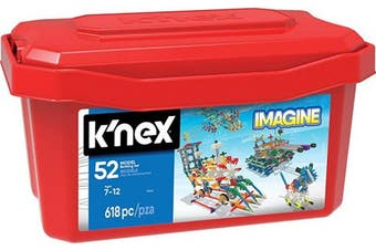 (618 Parts, 52 Builds, Tub) - K'NEX – 52 Model Building Set – 618 Pieces – Ages 7+ Engineering Education Toy