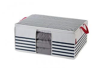 (Duvet Storage Bag, White/Blue, Not Applicable) - Compactor Mariniere Duvet Storage Bag with Window 65 x 50 x 27cm, White/Navy Blue