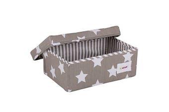 (Storage Box, Small) - Minene Small Foldable Fabric Storage Box L32xW21xH12cmLinen Cosmetic Stationery Organiser with Flowers Star Storage (Grey & White Stars)