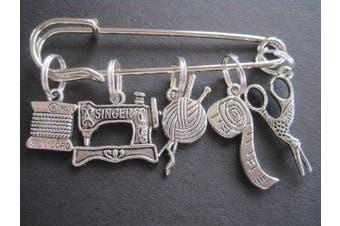 Sewing Kit - 5 Silver Knitting Stitch Markers