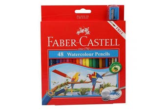 Faber Castell watercolour Pencils with Sharpener and Brush, 48 WaterColored Pencils set