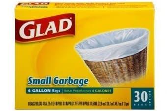 3 Pk, Glad Small Trash Bags, 15.1l, 30 Ct Per Pack (Total of 90)