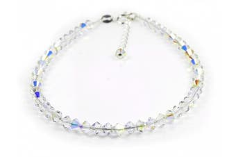 (228.0 millimeters) - Dent Designs Anklet Sterling Silver with Small Crystal AB Crystals