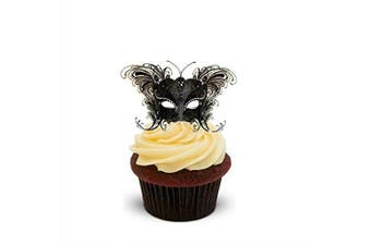 Masquerade Ball Mask Black - Standups 12 Edible Standup Premium Wafer Cake Toppers - 2 x A5 sheet - 12 images