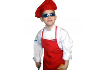 (ADULT fits most adults) - CHEFSKIN RED APRON CHILDREN KIDS FITS REAL FABRIC (ADULT fits most adults)