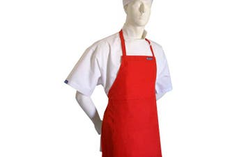 (TALL  fits adults 1.8m+) - CHEFSKIN RED APRON CHILDREN KIDS FITS REAL FABRIC (TALL fits adults 1.8m+)