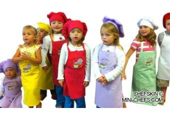 (SEND ASSORTED COLORS (2 of EACH)) - LOT of 25 Chefskin Children Aprons,wholesale Set Small Fits Kids 2-8 (Send Assorted Colours (2 of Each))