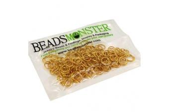 (8mm, Golden) - BeadsMonster Jewellery Findings Jump rings for Jewellery design and Making , Gold Colour, 8mm, 20g