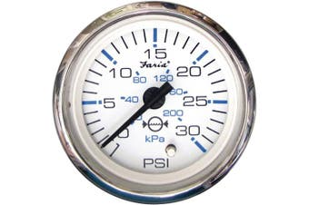 (white) - Faria Chesapeake White SS 5.1cm Water Pressure Gauge Kit - 30 PSI