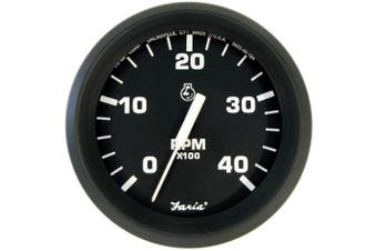 Faria Euro Black 10cm Tachometer - 4,000 RPM (Diesel - Mechanical Takeoff & Var Ratio Alt)