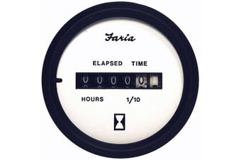 "(white) - Faria 2"" Hourmeter, 10,000 Hrs, 12-32 VDC"