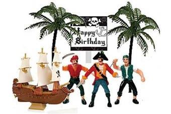 Cakesupplyshop Pirate Ship Pirate Revenge Happy Birthday Sign Mini Cake Decoration Toy Cake Topper