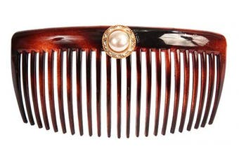Caravan Hand Decorated French Tortoise Shell Back Comb with Pearl and stones In Gold Setting, Large.1920ml