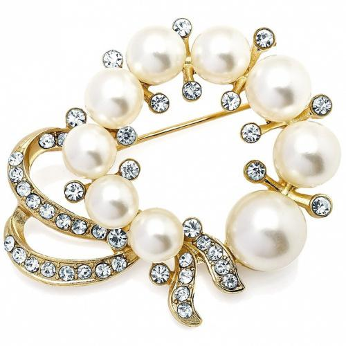 Faux pearl & diamante crystal wedding style design gold plated fashion costume jewellery pin brooch Faux pearl and diamante crystal wedding style design gold plated fashion costume jewellery pin brooch. This brooch fastens securely with a metal pin clasp. Makes a fabulous addition for any wedding, party, or for other special occasions. Dress up your bouquet, purse or add a sparkling accent to your outfit, hat, coat, or jacket. Even great as a gift. Each brooch pin is designed exquisitely detailed to bring a smile and adornment.   Features   1. Product description: Product description: Gold plated base metal and crystal stones   2. Regulations: Nickel free jewellery and complies with all the relevant EU regulations.   3.Approx size: 5.2 cm x 4 cm   4. Item gift bag organza drawstring pouch