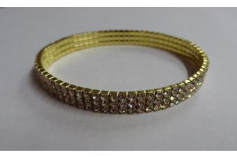 (Golden Three Line) - GOLDEN/SILVER/MULTI CRYSTAL DIAMANTE BRIDAL/PROMS/PARTIES STRETCHABLE ANKLET/PAYAL FOOT JEWELLERY **HOT** DESIGN MANY VARIATION - 1 ANKLET BY TRENDZ (Golden Three Line)