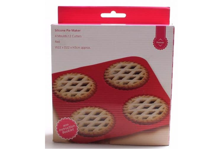 PREMIER HOUSEWARES 4 MOULDS / 2 CUTTERS SILICONE PIE MAKER RED DECORATING TOOL