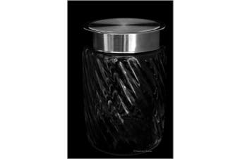 American Chateau 18cm Clear Glass Ribbed Kitchen Storage Apothecary Jar Canister Display Domed Lid