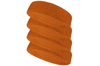 (Tan) - Couver Terry Solid Colour Headband / Sweatband - 4 Pieces