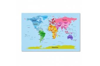 (12x19) - Trademark Fine Art World Map for Kids Artwork by Michael Tompsett, 30cm by 48cm
