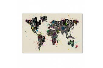 Trademark Fine Art Text Map of The World IV Artwork by Michael Tompsett, 30cm by 48cm