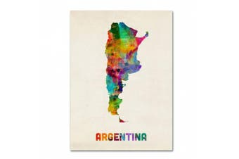 Trademark Fine Art Argentina Watercolour Map Artwork by Michael Tompsett, 60cm by 80cm