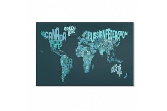 (16x24) - Trademark Fine Art Text Map of The World II Artwork by Michael Tompsett, 41cm by 60cm