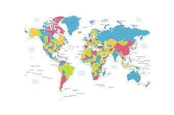 (World Map) - Feeten No Mildew Waterproof World Map Shower Curtain with Hooks