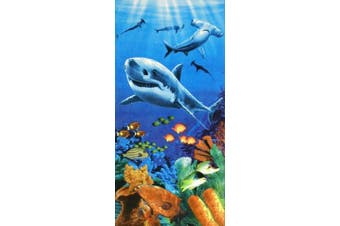 Sharks colourful reef velour brazilian beach towel 80cm x 150cm