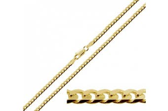 """(26.0 inches) - 9ct Gold Plated on 925 Sterling Silver Flat Curb Chain - 3.2mm Wide - In Simple Gift Bag (available in 16"""" to 30"""")"""